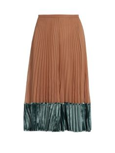 Velvet-panel pleated silk georgette midi skirt by Valentino
