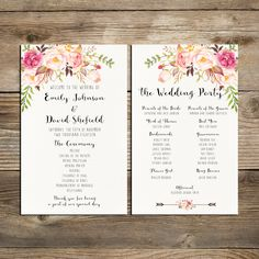 Wedding program printable, Bohemian Pink and ivory Floral Wedding Program Boho Watercolor Flower Ceremony Program Printable digital files by HappyLifePrintables on Etsy https://www.etsy.com/listing/270726563/wedding-program-printable-bohemian-pink
