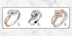 We have many bridal designs to choose from at Jewel Box Jewelers, which of these three rings are your favorite?