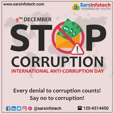 It is high time now! Say no to corruption for a better tomorrow. #InternationalAntiCorruptionDay #AntiCorruptionDay #corruption #global #challenges #youthanticorruption #AntiCorruptionDay2020 #IACD2020 #IACD #ZeroCorruption #AwarenessIsTheKeyHonesty #Trust #Faith #saynotocorruption #UnitedAgainstCorruption #raiseawareness #India Social Media Marketing, Digital Marketing, Challenge S, Best Web Design, Tomorrow Will Be Better, Web Design Company, Denial, Online Business, Trust