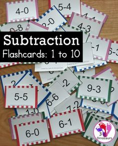 Free Subtraction Flashcards: 1 to 10 for kindergarten, first grade, and second grade with ways to use with and five color options - 3Dinosaurs.com #3dionsaurs #flashcards #subtraction #firstgrade #kindergarten #freeprintable