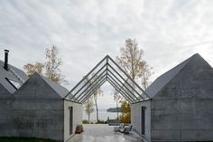 Architecture, Eminent Natural Summerhouse Sweden: Sumptuous Terrace With Transparent Cantilevered Pitched Roof