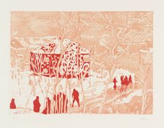 Peter Doig 'Red House', 1996. Etching and aquatint on paper.