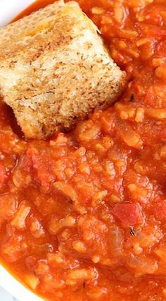 Tomato and Rice Soup with Grilled Cheese Dippers