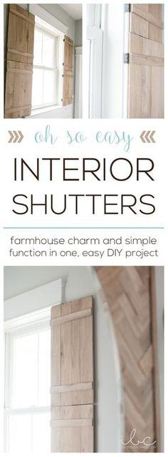 easy farmhouse DIY Interior Shutters - 25 New Diy Interior Shutters Inspiration Diy Interior Shutters, Diy Shutters, Interior Windows, Indoor Window Shutters, Bedroom Shutters, Brick Interior, Interior Paint, Kitchen Shutters, Farmhouse Shutters