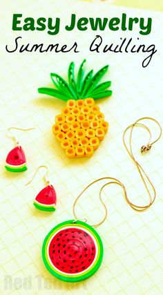 Quilled Watermelon Pendant - summer fun with Paper Quilling. Make this super easy paper watermelon DIY. Isn't it adorable? Such cheap and cheerful Summer Jewelry DIY fun! Add a fabulous Paper Pineapple brooch DIY to go with it!