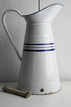 French Enamel Milk Jug, Circa 1920.