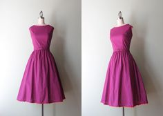 1960s Dress / Vintage 60s Nelly Don Plum Floral Day Dress / Early Sixties Full Skirt Cotton Dress
