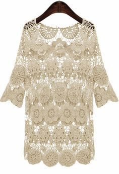 Beige Half Sleeve Hollow Out Crochet Short Dress - Sheinside.com