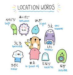 "Language: Japanese. Location Words    ""Studying for my japanese test 〆(^∇^ ) ""    original source, KiraKiraDoodles (キラキラ DOODLES) http://kirakiradoodles.tumblr.com/post/75795671736/studying-for-my-japanese-test-%E3%80%86"