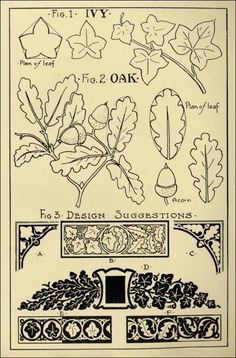 "stone carving patterns-Oak & Ivy Patterns in ""Monumental Drawing and Lettering: The Oak and Ivy in Applied Ornament"" (1926)"
