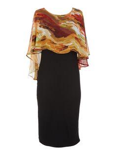 Flare Cape Midi Dress Multi-colour