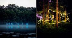 SCULPTURE : Installation paysager de sculptures de lumière ! WOW !