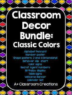 Classroom Decor Bundle:  Classic Colors