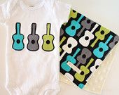 Baby Boy Burp Cloths - Groovy Guitars and Turquoise Rings - Set of 3.