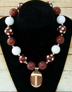 Girls Football Brown and White Chunky Bead Bubblegum Necklace, Girls Jewelry, Football Necklace, Girls Necklace Football Necklace, Kids Necklace, Girls Necklaces, Moon Necklace, Necklace Ideas, Necklace Tutorial, Necklace Designs, Pearl Necklace, Chunky Bead Necklaces