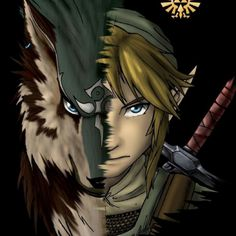 Awesome artwork of Link as Wolf and Hylian from Zelda TP