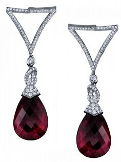 The Teardrop Briolette Earrings Exquisite rubellite briolettes of rich magenta are suspended by an elegant pave diamond setting in a perfect display of feminine grace. Part of a suite, these delicate earrings are accompanied by a matching teardrop briolette necklace.
