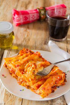 Lasagne alla romana Pasta Sauces, Pasta Dishes, Confort Food, Bolero, Gnocchi, Carne, Bacon, Pizza, Menu