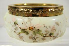 Antique Wavecrest Hand Painted Floral Pin Dish