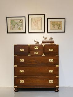 British Colonial Teakwood Campaign Chest Of Drawers Can Be Split In Two Parts For Ease