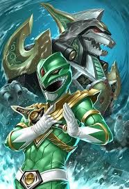 Green mighty morphin power ranger and dragonzord