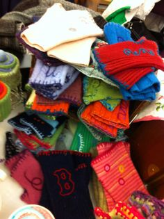 Texting gloves--more sweater upcycling...