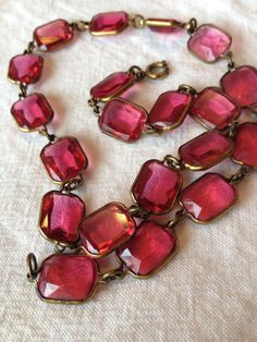 Pink Czech Glass Choker Neclace by broochonmyback59 on Etsy #annawintourstyle #vintage
