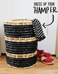 3 in different colors for whites/meds/darks. Dress Up Your Hamper DIY - A Beautiful Mess. Diy Dress, Dress Up, Wicker Hamper, Painted Baskets, Smile And Wave, Laundry Hamper, Laundry Room, Small Laundry, Wicker Furniture