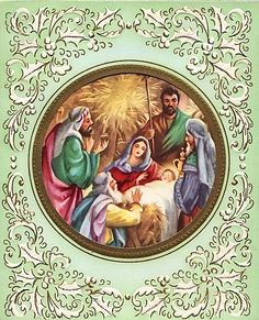 Old Christmas Post Cards — Nativity (728x900)