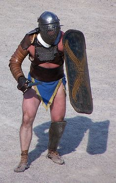They were the only gladiators protected by a breastplate (cardiophylax) which is usually rectangular, later often crescent-shaped. They fought with a tall, rectangular shield and the gladius. They were paired only against other provocatores.
