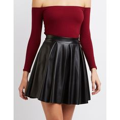 Charlotte Russe Pleated Faux Leather Skater Skirt ($23) ❤ liked on Polyvore featuring skirts, black, knee length flared skirts, flared skirt, flare skirts, box pleat skirt and faux leather skater skirt