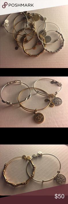 ALEX & ANI BUNDLE 8 bracelets 8 bracelets, some of them never worn. They are all real ALEX & ANI bracelets, i just rarely wore them and want to get rid of them at once because i'm moving. If you want to see close ups of particular bracelets just comment below! i'm willing to negotiate this offer. Alex & Ani Jewelry Bracelets
