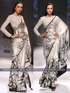 NEW LATEST WHITE COLOR PURE SILK PRINT EMBROIDERY WORK SAREE Bollywood Sarees Online on Shimply.com