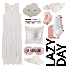 """lazy day"" by majafashionlover ❤ liked on Polyvore featuring DKNY, PBteen, BaubleBar, Kylie Minogue at Home, Bloomingville, Ashlyn'd and Benefit"