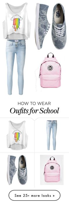 Cute school outfit by creepypastalover29 on Polyvore featuring Frame Denim, Vans and Hype - http://amzn.to/2g1fale