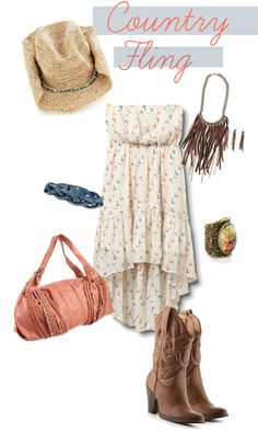 Country Fling, created by michellelindsey on Polyvore #country #cowgirlboots #boots #cowgirl #cowboyhat #cowgirlhat #pink #fringe #hat #summerdress #summer #dress #straplessdress #fashion #style #fling #cute #polyvore