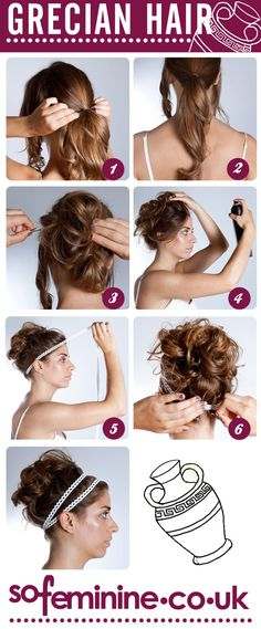 Step By Step Grecian Goddess Hair for my costume - wish I had this for Halloween Grecian Hairstyles, Up Hairstyles, Pretty Hairstyles, Greek Goddess Hairstyles, Haircuts, Coiffure Hair, Hair Day, Gorgeous Hair, Hair Hacks