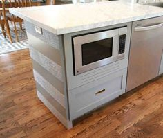 "let me introduce you to the ""front"" of my striped island---and another fun feature--the ""built -in"" microwave. Built In Microwave Cabinet, Microwave In Island, Microwave Drawer, Under Counter Microwave, Hidden Microwave, Diy Kitchen Island, Kitchen Redo, New Kitchen, Kitchen Ideas"