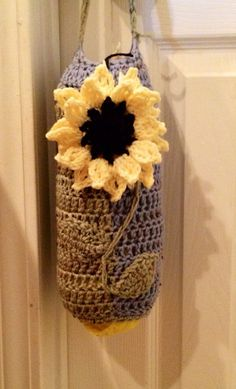 Crocheted Plastic Bag Holder by CrochetWithMyCoffee on Etsy