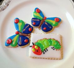 Caterpillar & Butterfly Iced Sugar Cookie Cut Outs Hungry Caterpillar Theme.