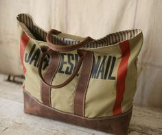 Beautiful recycled fabric, leather bags by Forestbound. They use WWII duffel bags, WWII laundry bags, vintage feed sacks and even tents to create these great bags.