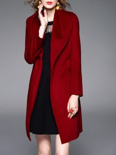 Shop Coats - Wine Red Plain Wool Blend Long Sleeve Coat online. Discover unique designers fashion at StyleWe.com.