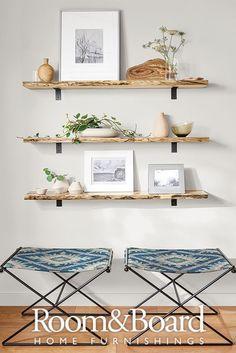 open shelf styling, family room design