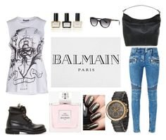 """BALMAIN"" by thisismegiusy on Polyvore featuring moda, Balmain, women's clothing, women, female, woman, misses e juniors"