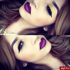 Just the lips....the yellow is too much for me in the eyes!! But that lip color....LOVE!!!