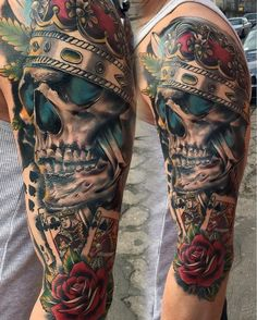 Head-Turning New-School Skeleton and Crown Half Sleeve Tattoos
