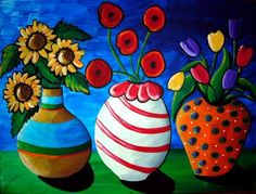 Colorful Whimsical Vases Flowers Floral Folk by reniebritenbucher, $139.00