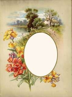 Victorian Summer Flowers Clip Art | lovely frame (an antique album page) for your photo. Flowers and ...