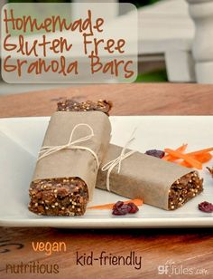 gluten free granola bars - kid-friendly, vegan, portable and delicious nutrition! Ready in under 1 hour! gfJules
